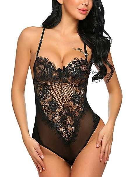 9df42ab475d Avidlove Women Deep V Halter Fishnet Lingerie Lace Babydoll Teddy Bodysuit  Romper Black S