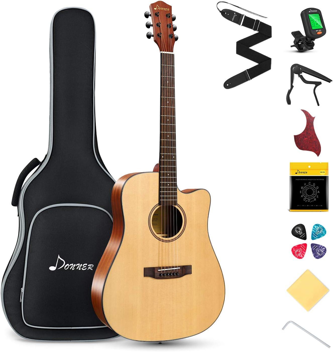 Donner Guitarra Acústica con Cutaway 41 Pulgadas Cuerpo de Caoba y Pícea Color de Madera Natural con Set de Accesorios DAG-1C