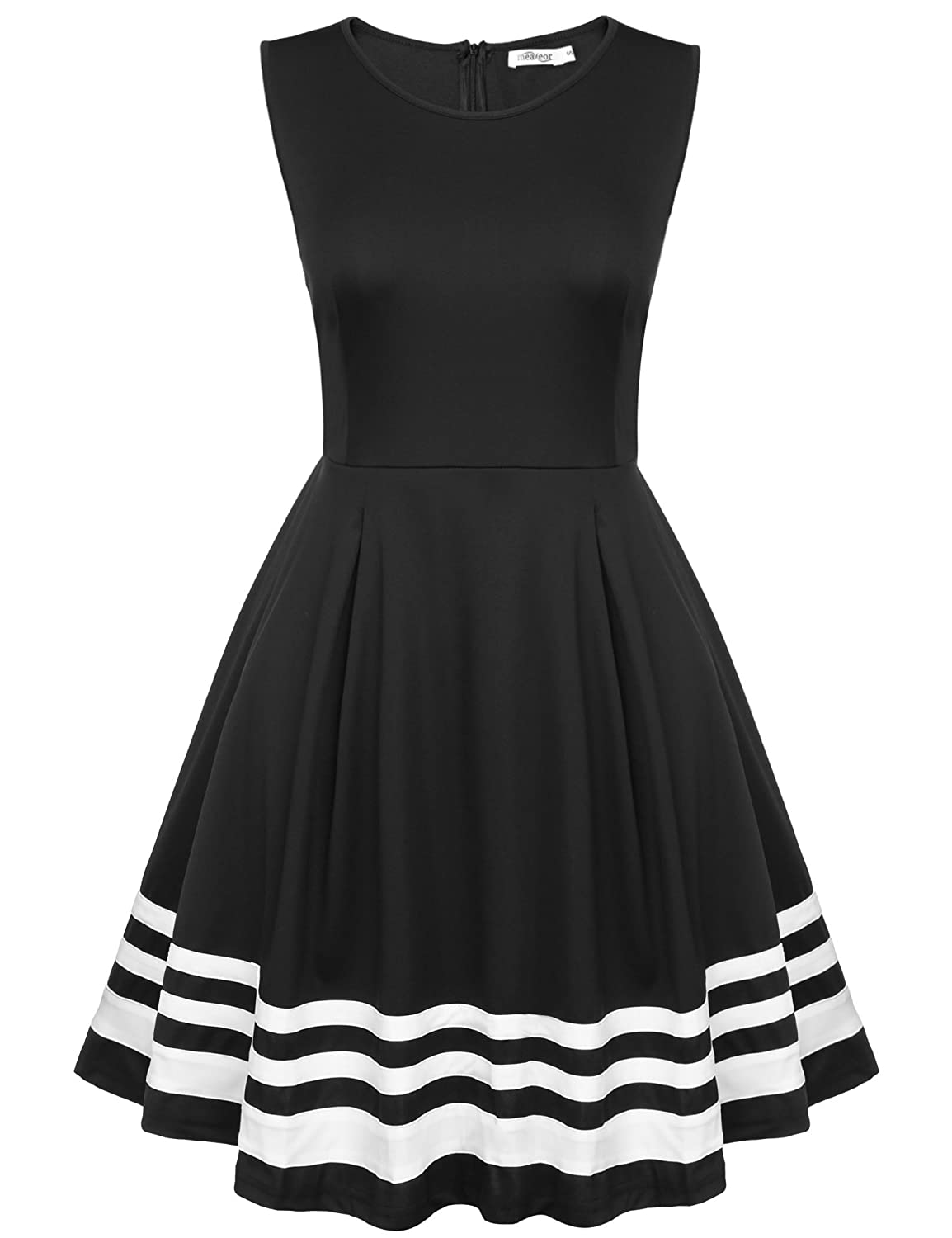 Color block party dress - Cheap Meaneor Women Classy Black White Swing Dress Sleeveless Color Block Party Dress