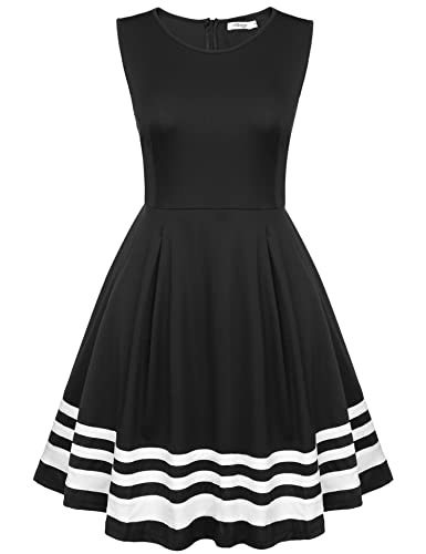 Meaneor Women Classy Black White Swing Dress Sleeveless Color Block Party Dress