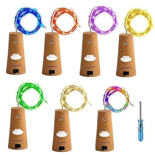 Tesan Luz, de botellas de vino botella corcho Luz, 2 metros 20 ledes LED Luz nocturna Botella de vino, bodas y fiestas romántica Deko, 7 colores, 7 ...