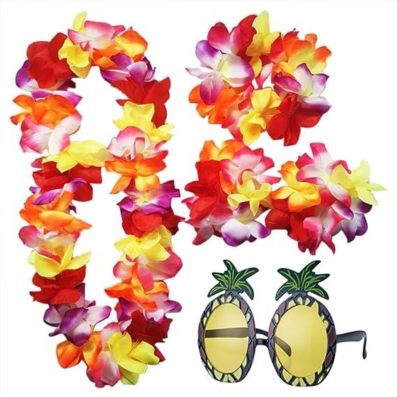 iLoveCos Accesorios de Gafas de Sol de Piña y Luau Hawaianas Flor ...
