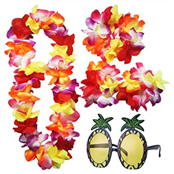 ilovecos hawaiian fancy dress and pineapple sunglasses for beach