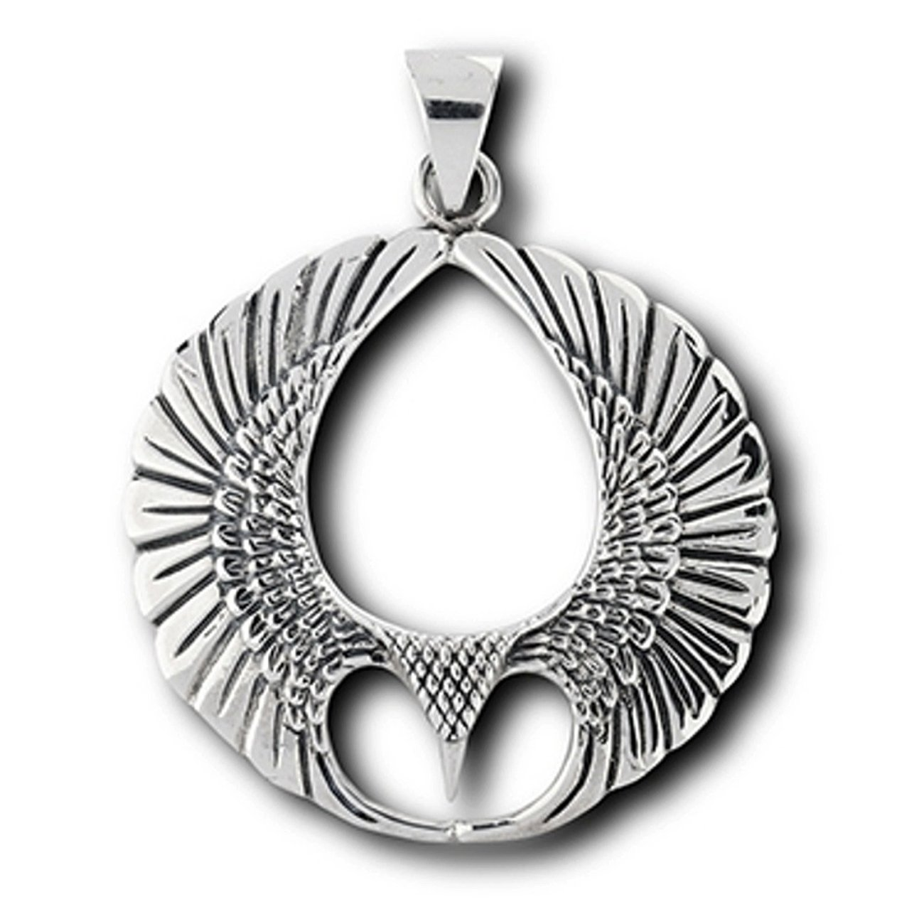 Sterling Silver Girls .8mm Box Chain Eagle Hawk Or Other Bird Of Prey Pendant Necklace