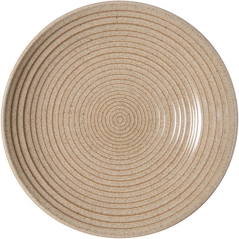 Ceramic Denby Studio Craft Birch Medium Ridged Bowl 25.5 x 25.5 x 5 cm Beige