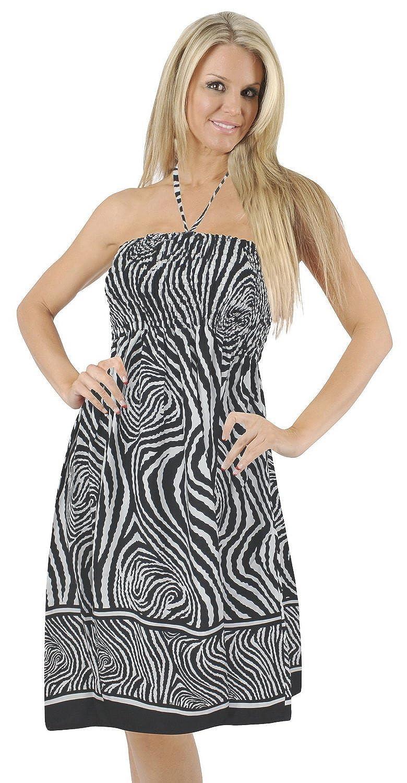 La Leela 2 in 1 glatt likre Frauen plus Größe abstrakt Badeanzug Strand verschleiern /casual Kleid /Sommerkleid Maxirock sleeveless backless bandeaux halter neck kleid-Schlauchober schwarze Damen