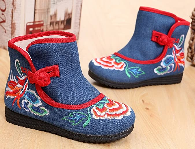 Toddler//Kid Tianrui Crown New Girls Sun Flower Embroidery Frog Cheongsam Short Boots Shoes