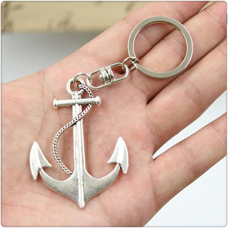 Fashion Car Keychain Silver Color Metal Key Chains Accessory Vintage anchor Key Rings