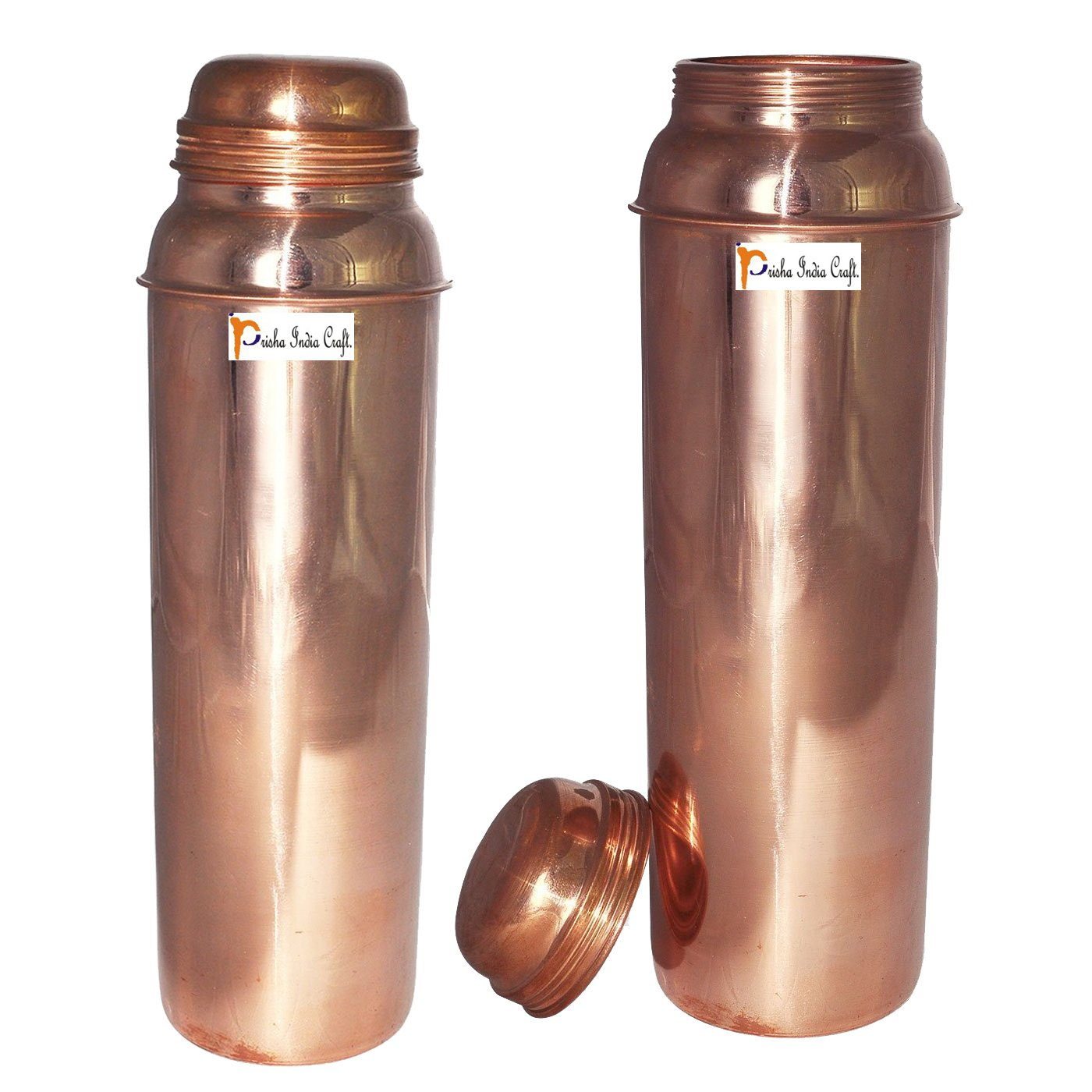 850ml / 28.74oz - Set of 2 - Prisha India Craft Pure Copper Water Bottle for Health Benefits - Water Pitcher Bottles - Handmade Christmas Gift Item