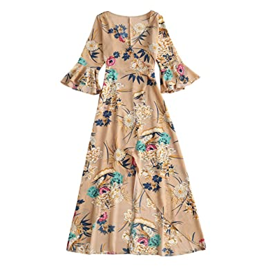 f68ea6c93e Langstar Sexy Plunge Neck Bell Sleeve Ruffle Floral Print Women Maxi Wrap  Dress