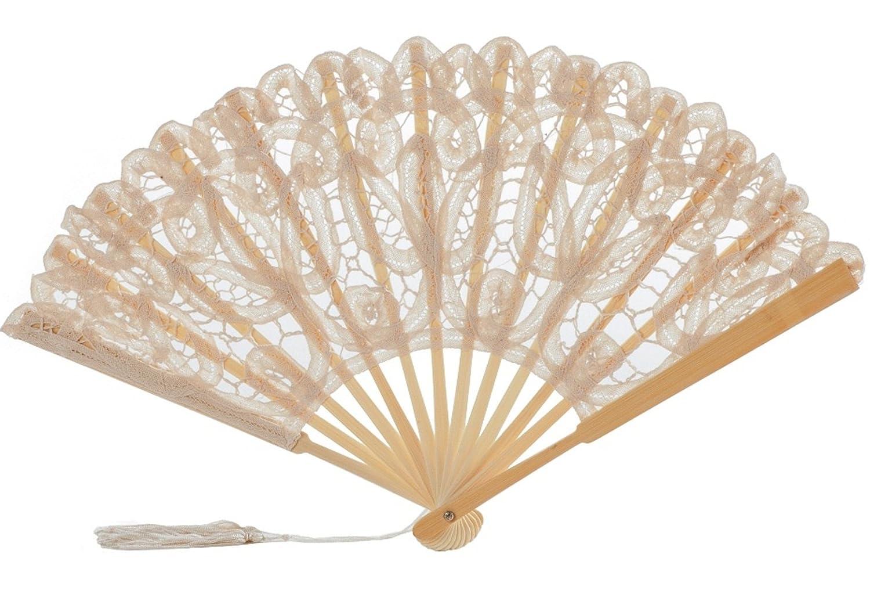 The 1 For U Women's Cotton Lace Fan Black Ecru