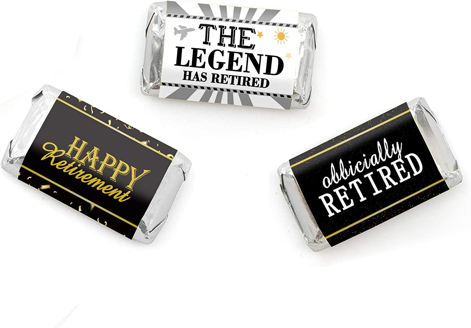 45 Stickers Happy Retirement Party Mini Candy Bar Wrappers Retirement Party Favors