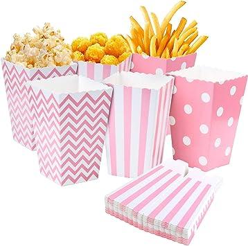 Comius Cajas de Palomitas, 36 Pcs Caja de Cartón de Popcorn Envase de Caramelo Contenedor para Los Bocados del Partido, Los Dulces (Rosado): Amazon.es: Juguetes y juegos