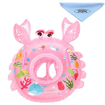 UClever Flotador Cangrejo con Manija para Bebé 6-36 Mes (Rosa)