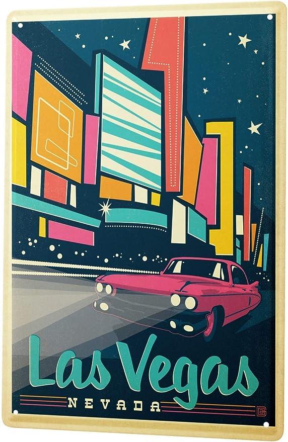 Tin Sign Retro Wall Art Metropole  Las Vegas Nevada pink car Metal Plate 8X12