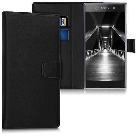 kwmobile Funda para Sony Xperia XA1 Ultra - Carcasa de [Cuero sintético] - Case con Tapa y [Tarjetero] en [Negro]