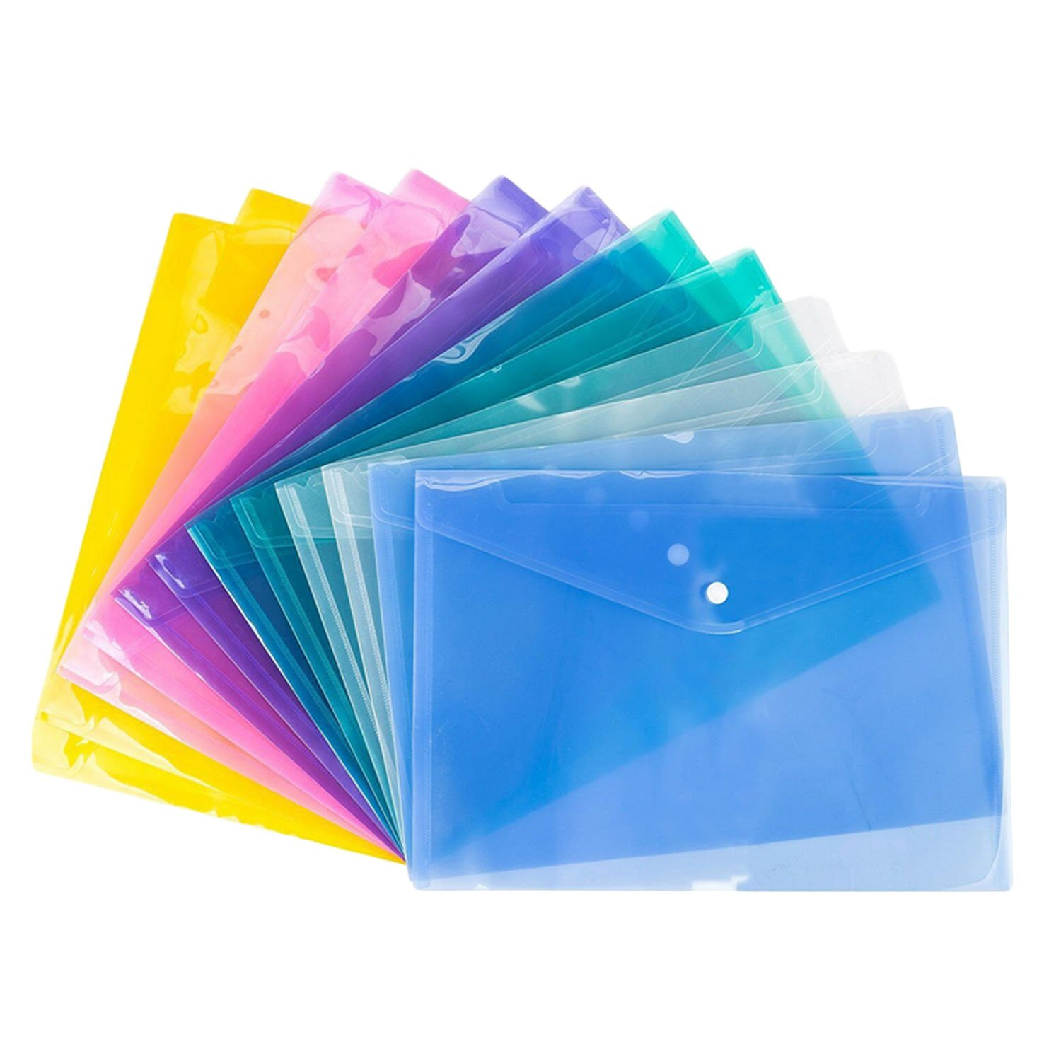 Gosear 12PCS A4 Size Assorted Colors Clear Document Paper File Folder with Button for Office Clerks School Students