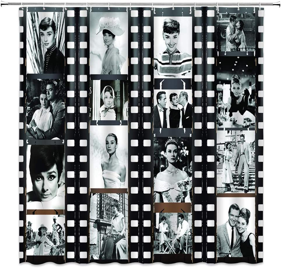 BOYIAN Audrey Hepburn Shower Curtain Decor Famous Movie Star Collage Retro The Film Poster Black White Fabric Bath Curtains Bathroom Accessories Polyester with Plastic Hooks 70x70 Inch