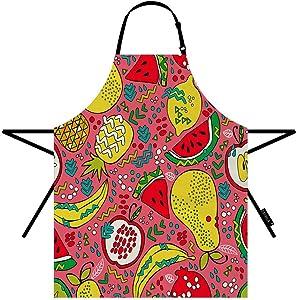 EKOBLA Summer Fruits Aprons Pineapple Watermelon Kiwi Apple Pear Orange Lemon Banana Waterproof Resistant Chef Cooking Kitchen BBQ Adjustable Aprons for Women Men 27x31 Inch