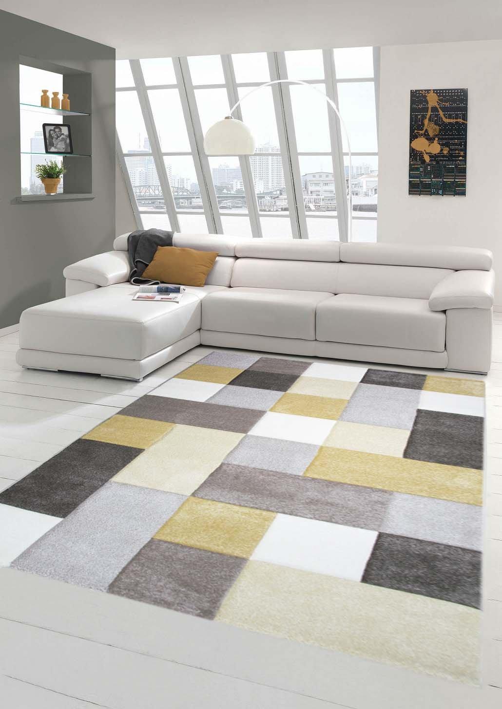 Traum Designer und Moderner Teppich Pastellfarben in Karomuster Gelb Creme Beige Größe 160x230 cm