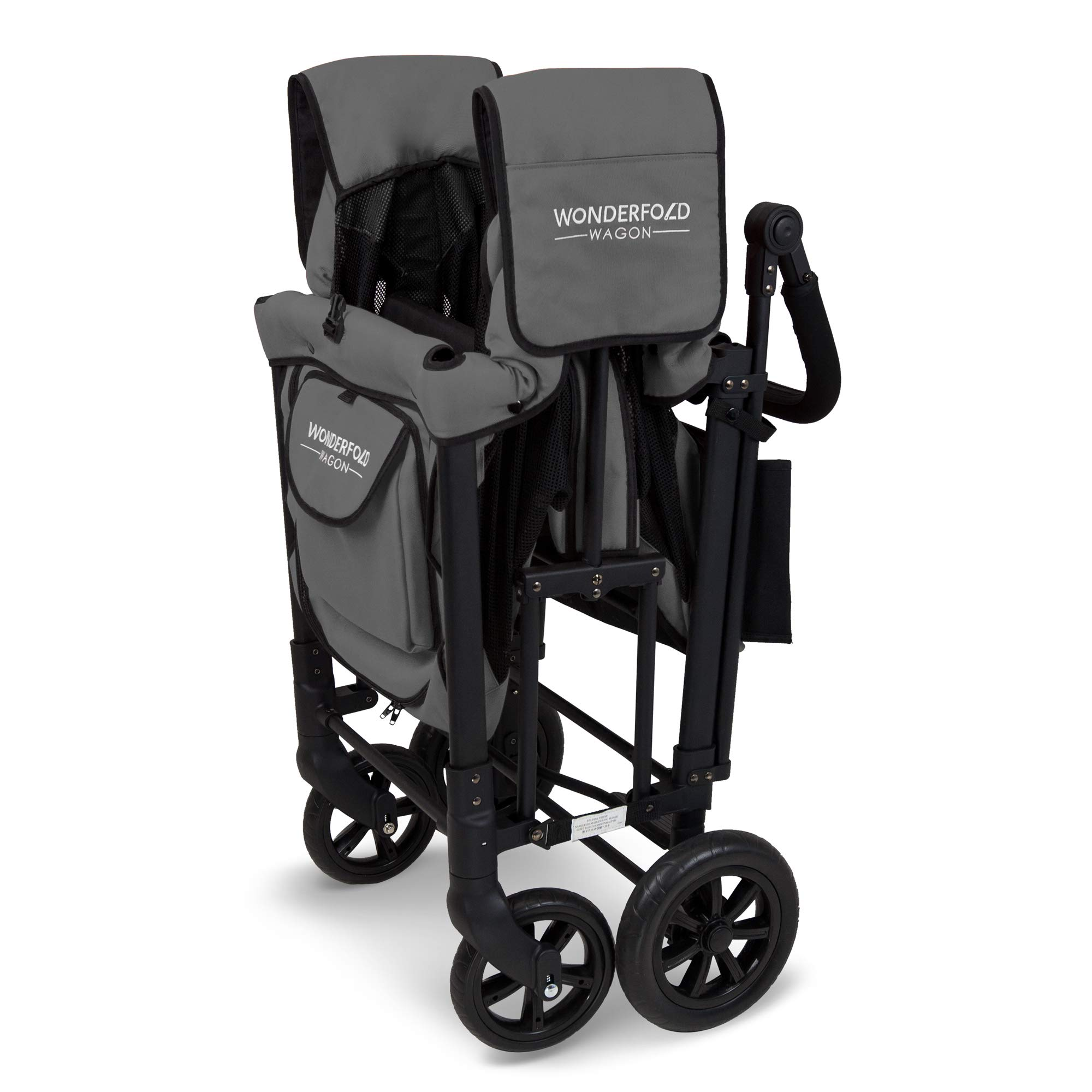 WonderFold Multi-Function Push 2 Passenger Double Folding Stroller, Adjustable Canopy & Removable Chair Seat Up To 2 Toddlers (Charcoal Gray) by WonderFold (Image #7)