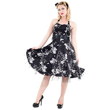 Hearts and Roses London Floral 50s Rockabilly Pinup Party Swing Prom Dress Black and White 8