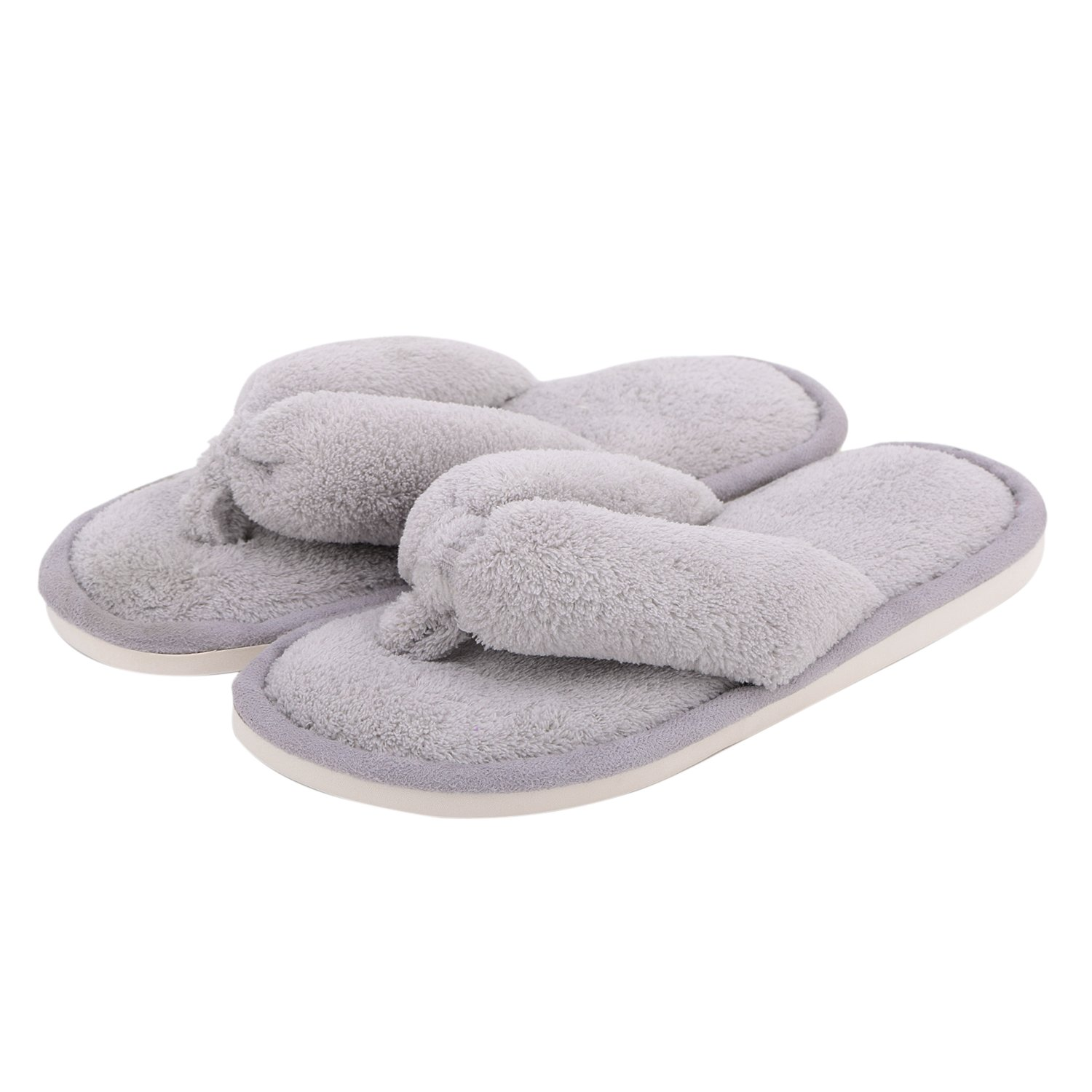 Indoor Slippers for Women Open Toe, Soft Cute Anti Slip Home Slippers (M- US Women Size 7-8, Grey)