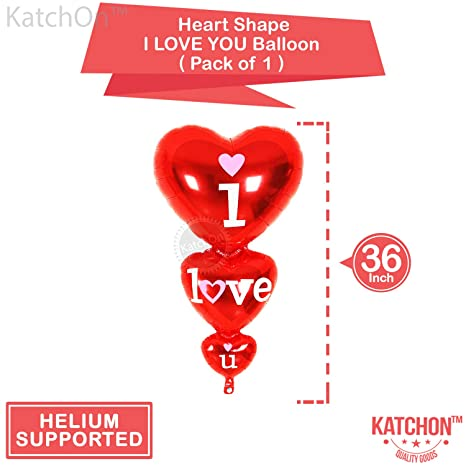 Amazon.com: 12 + 1 Red Heart Shape Balloons - 1 I Love U Balloon - Helium Supported - Love Balloons - Valentines Day Decorations and Gift Idea for Him or ...