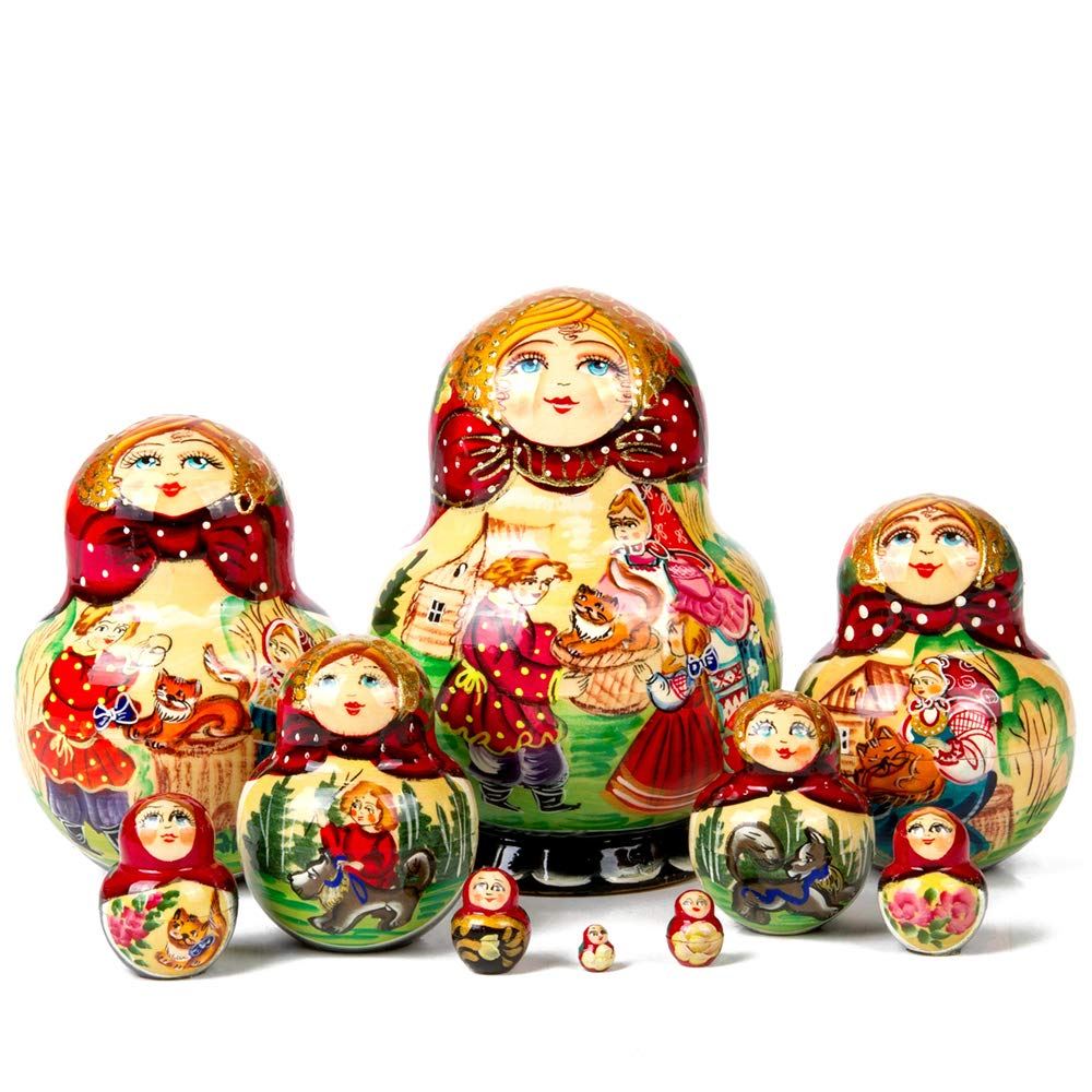 Books.And.More Set of 10 Fluffy Gift Nesting Doll Matryoshka 7 Inches by Books.And.More