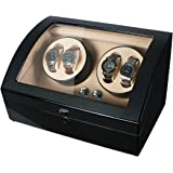SAMWOO Handmade Wooden Double Automatic Watch Winder Storage Boxes for 4 Watches, Watch Storage Display Box, Jewelry Winder Case