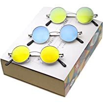 50f40b066f zeroUV - Retro Round Sunglasses for Men Women with Color Mirrored Lens John  Lennon Glasses ...