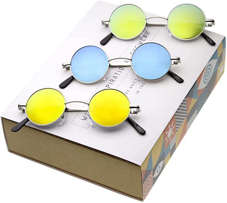 Retro Round Sunglasses for Men Women with Color Mirrored Lens John Lennon  Glasses f1f928f611