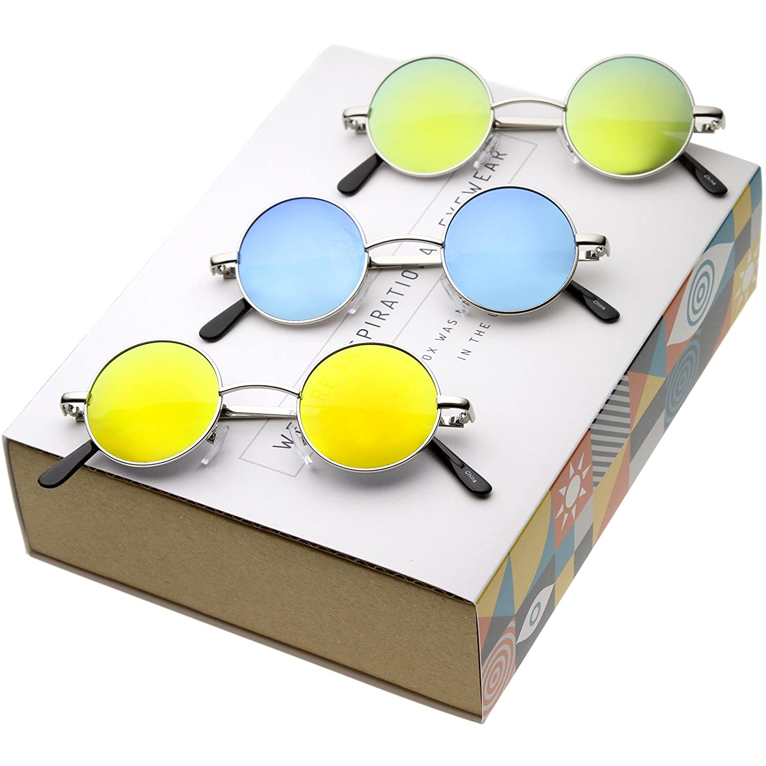 137db500809ca Lennon Style Small Round Color Mirrored Lens Circle Sunglasses (3-Pack)   Amazon.co.uk  Clothing