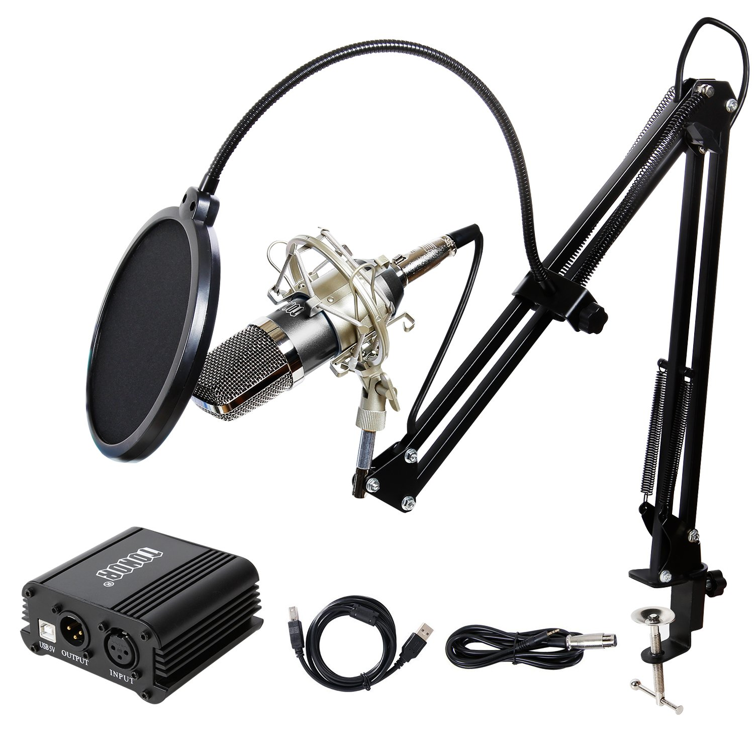 TONOR Pro Condenser Microphone XLR to 3.5mm Podcasting Studio Recording Condenser Microphone Kit Computer Mics with 48V Phantom Power Supply Black by TONOR