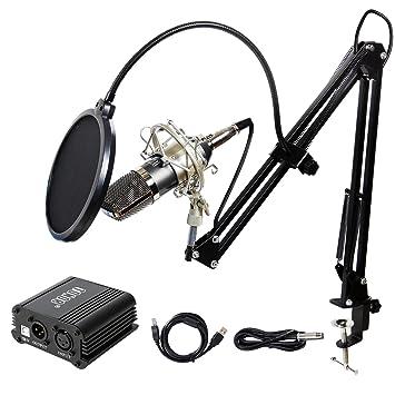 Amazon.com: Kit de micrófono condensador profesional ...