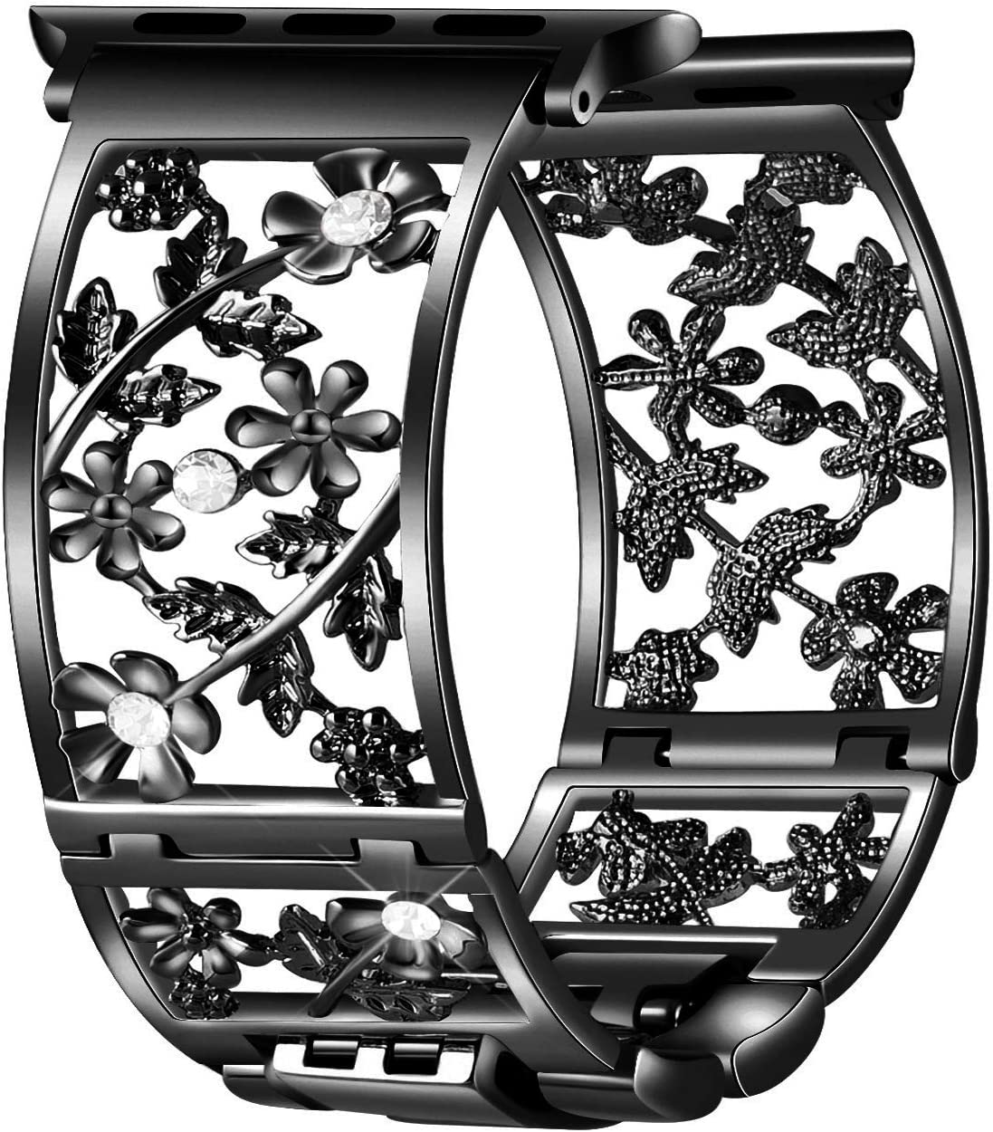 Duoan Floral Band Compatible with Apple Watch Band 38mm 40mm 42mm 44mm iWatch Bands Series 6 5 4 3 2, Bling Crystal Bracelet Hollow Metal Cuff Dressy, Fashion Women Jewelry Wristband(38mm/40mm Black)