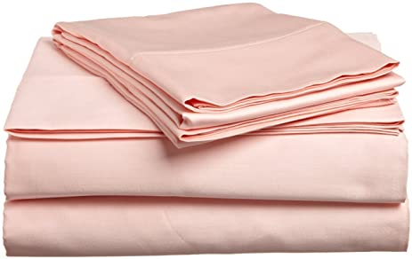 solid blush 300 thread count queen size sheet set 100 cotton 4pc bed sheet set