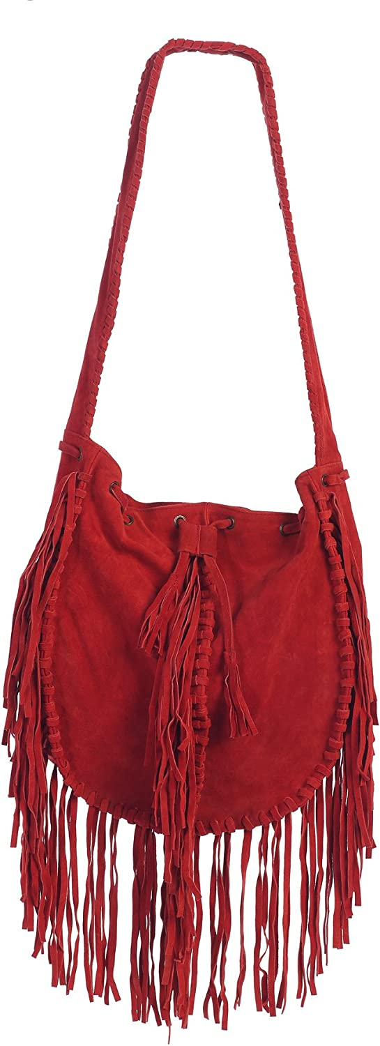 Women Suede Bag Fringed...