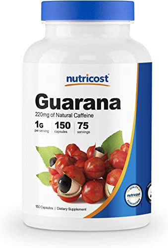 Nutricost Guarana 1000mg, 150 Veggie Capsules – Natural Herbal Brazilian Caffeine Energizer Supplement