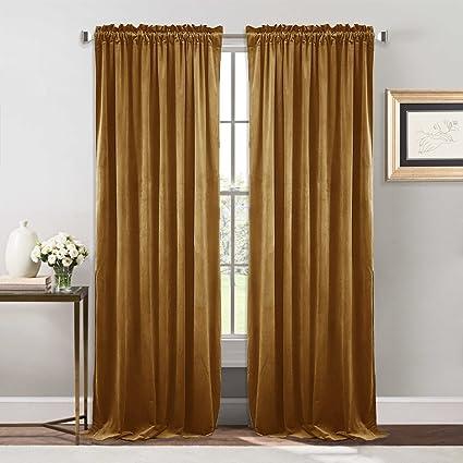 Amazon Com Nicetown Bedroom Velvet Blackout Curtains Drapes