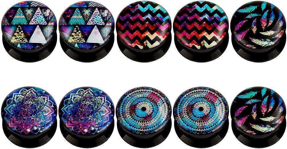 KUBOOZ (5 pares) Colorful-Dream Tapones para los oídos de acrílico Túneles Medidores Piercings de camilla