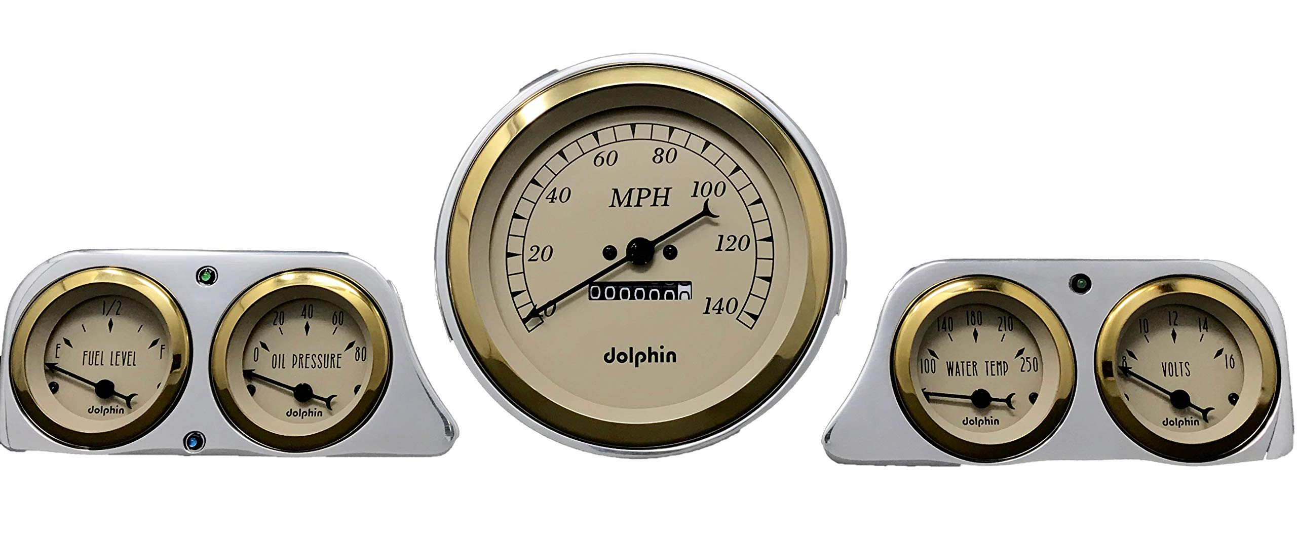 Dolphin Gauges 1949 Mercury Car 5 Gauge Dash Cluster Panel 5'' Speedo Mechanical Gold by Dolphin Gauges