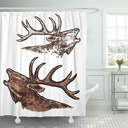 Ashleyallen Shower Curtains Elk Moose Head And Antlers Sketch Wild Forest Stag Deer Buck Wildlife Fauna