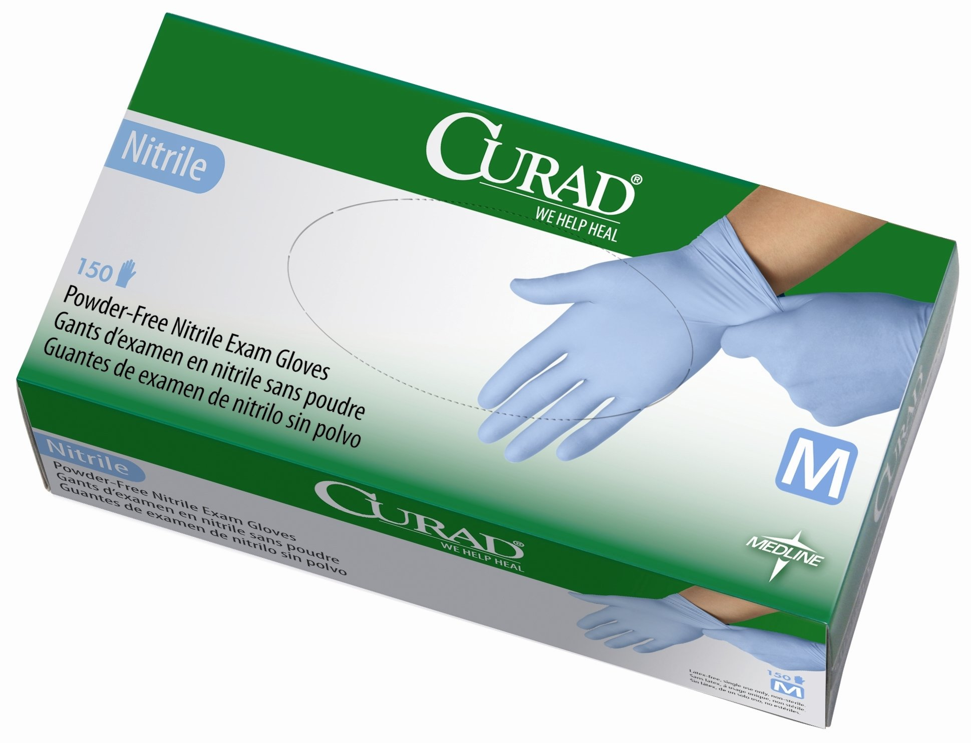 Curad Powder-Free Nitrile, Medium, 150 Count