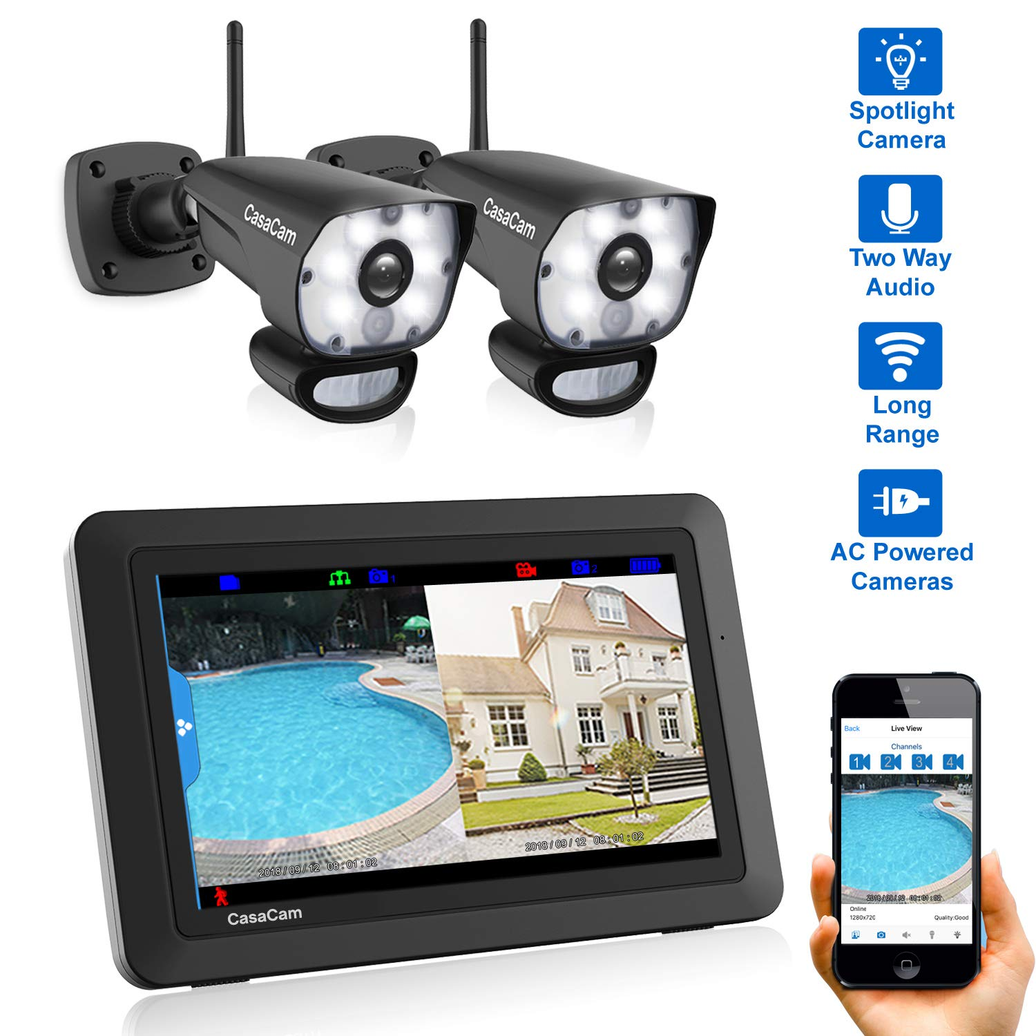 """CasaCam VS1002 Wireless Security Camera System with AC Powered HD Spotlight Cameras and 7"""" Touchscreen Monitor (2-cam kit)"""