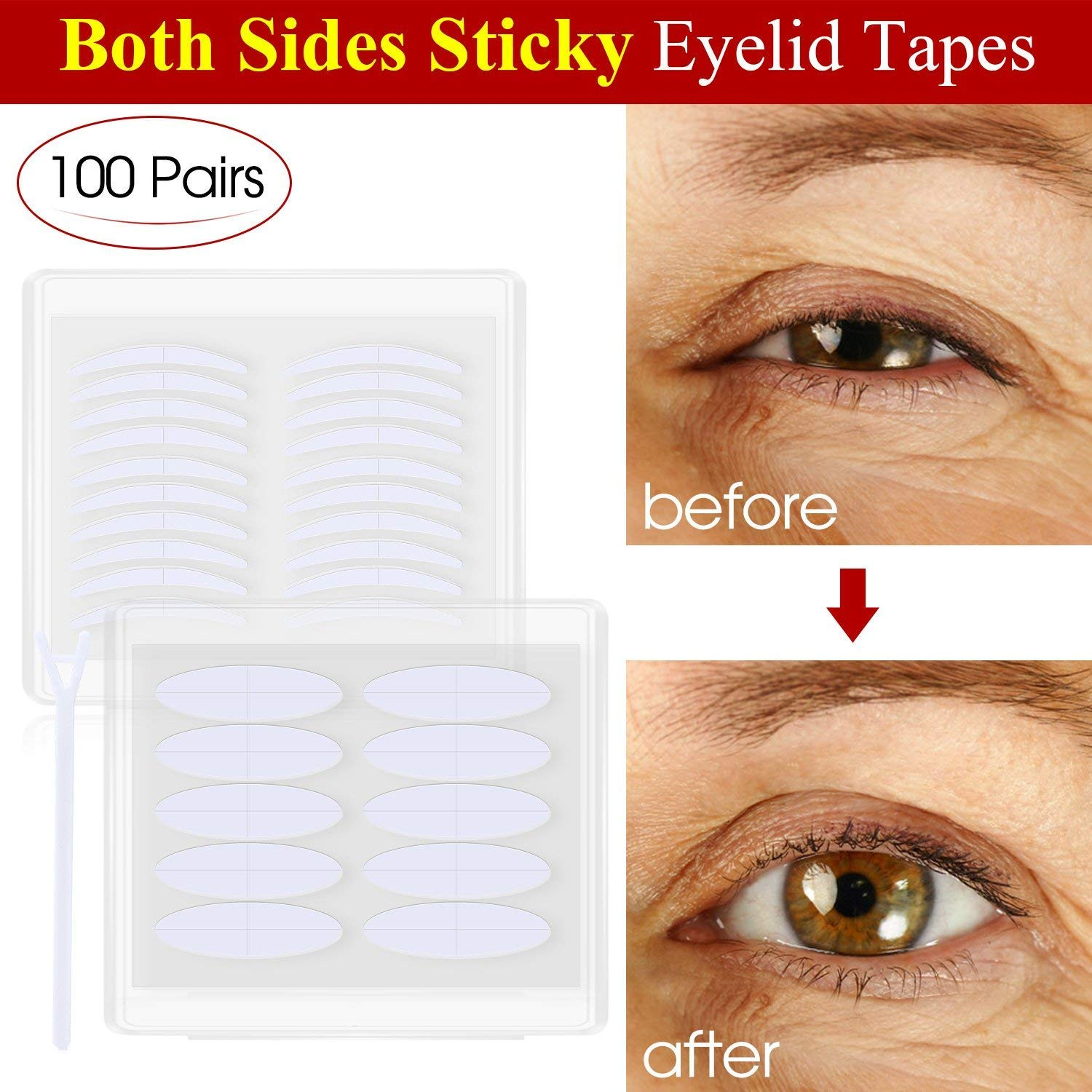 Both Sides Sticky Ultra Invisible Double Eyelid Tape Stickers Instant Eyelid Lift Without Surgery, Medical Grade Latex Free Hypoallergenic (100 Pairs, Wide+Slim) CN
