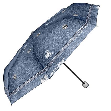 Paraguas Plegable Mujer - Mini Paraguas Automatico - Fantasìa Jeans - Resistente Compacto y Antiviento -