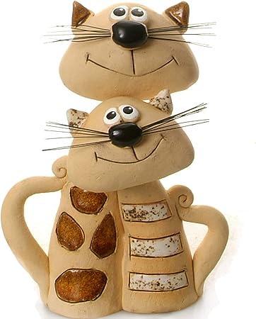 Gatos par | rojo corazón | amor Gatos | Cat para gatos. | adorno de cerámica regalo: Amazon.es: Hogar