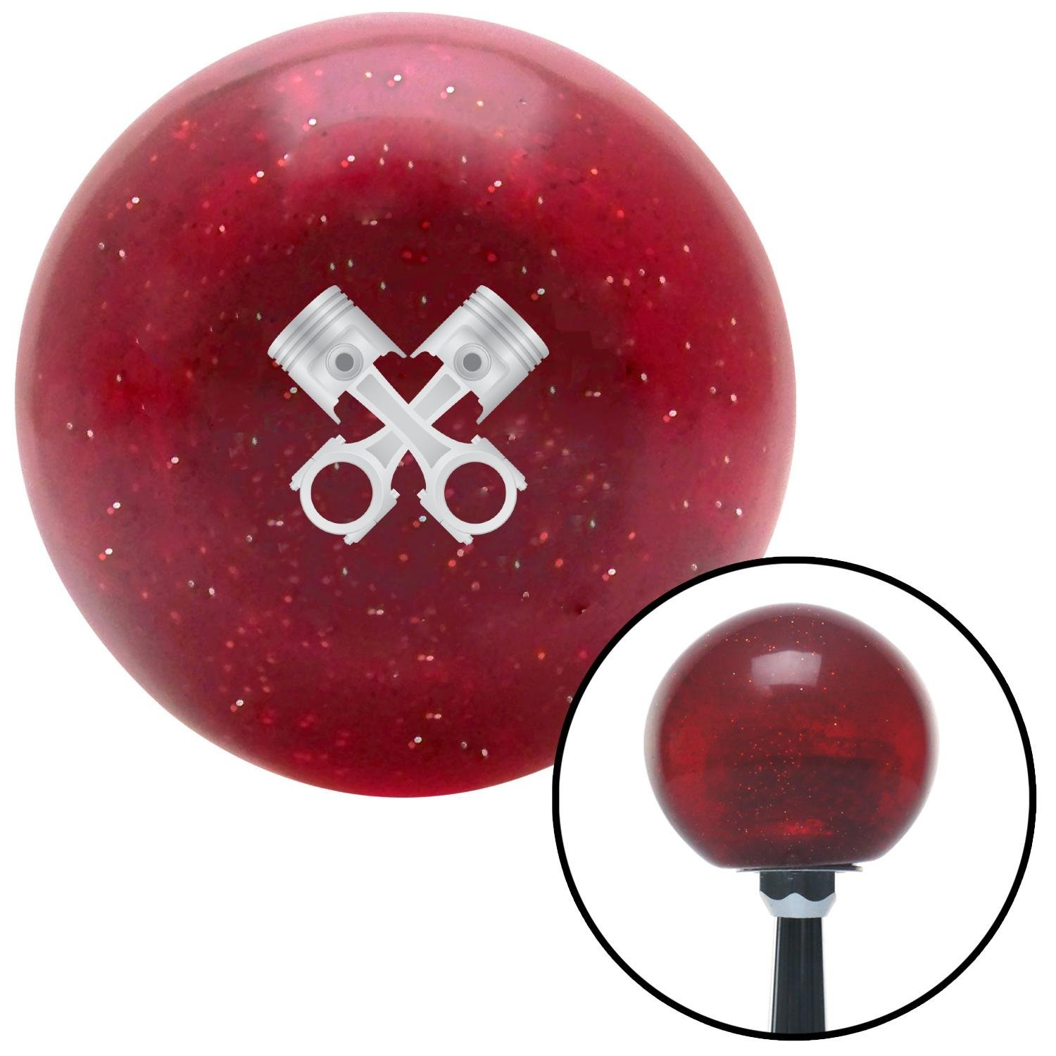 Pistons Metal Crossed Red Metal Flake with M16 x 1.5 Insert American Shifter 282505 Shift Knob
