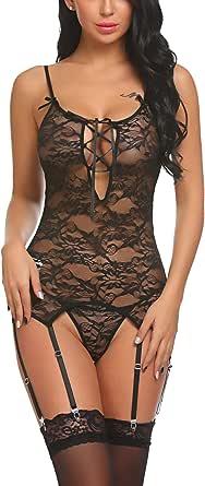 Avidlove Women Lace Bodysuit Lingerie Set Babydoll Chemise with Garter Belts